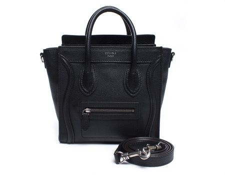 Celine Black Drummed Leather Nano Luggage Tote Bag