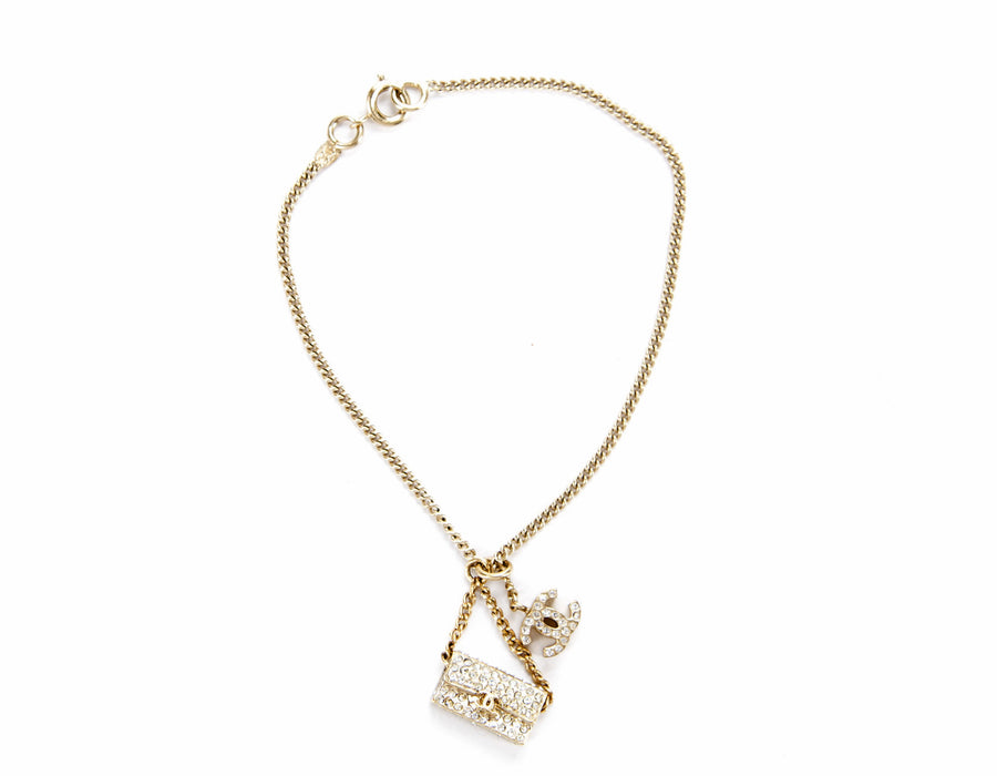 Chanel Gold Chain CC Flap Charm Bracelet