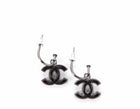 Chanel Black CC Silver Drop Pierced Earrings