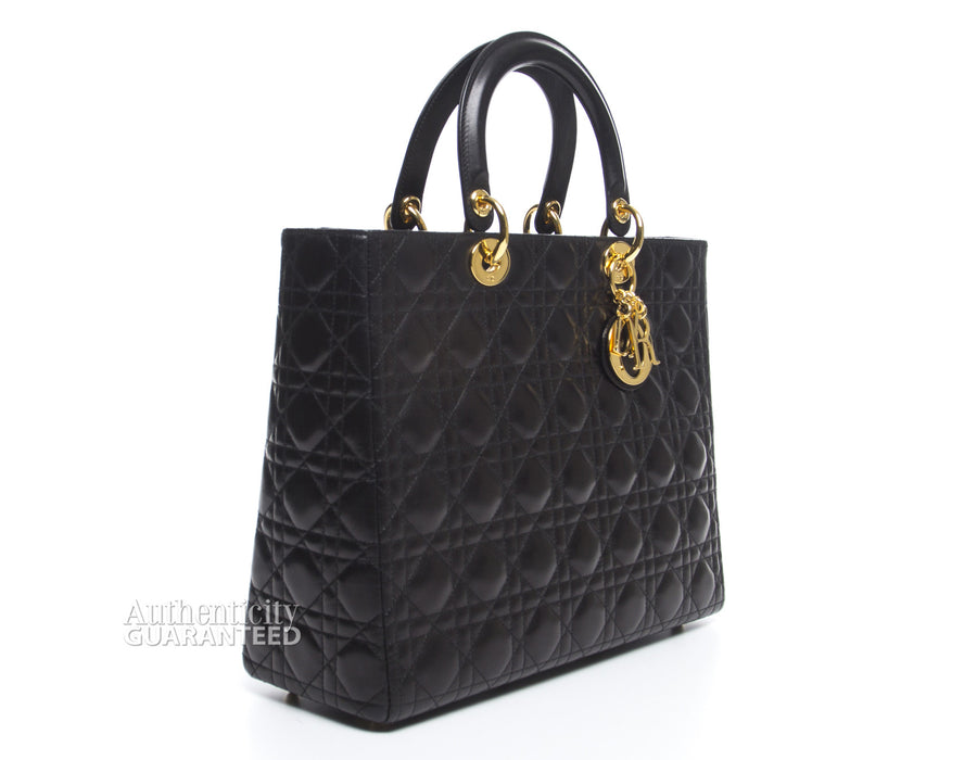 Christian Dior Black Lambskin Large Lady Dior Bag