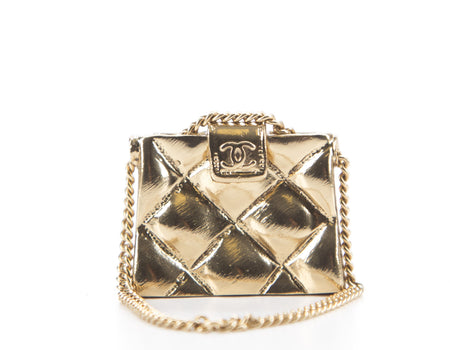 Chanel Gold Quilted Flap Brooch