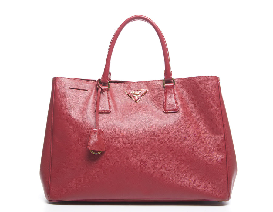 Prada Red Leather Saffiano Lux Tote Bag