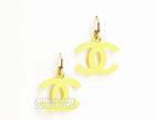 Chanel Lime CC Drop Pierced Earrings