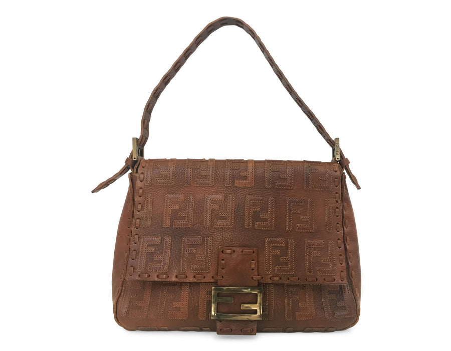 Fendi Brown Leather Monogram Mama Bag