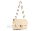 Chanel Beige Caviar Jumbo Double Flap Bag