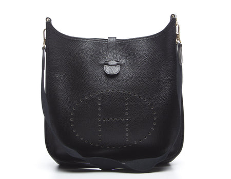Hermes Black Ardennes Evelyne GM Bag