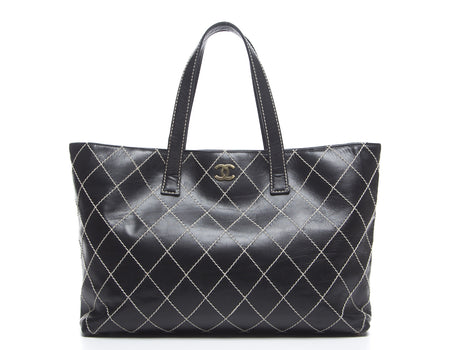 Chanel Black Leather Large Surpique Work Tote Bag