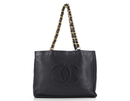 Chanel Black Lambskin Full Chain XL Shopper Tote Bag
