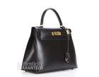 Hermes Black Box Calf Sellier Kelly 28cm Bag with Strap