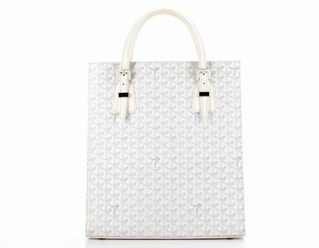 Goyard White Monogram Coated Linen Comores Tote Bag