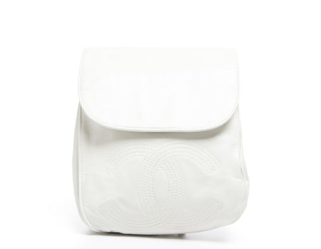 Chanel White Lambskin CC Backpack