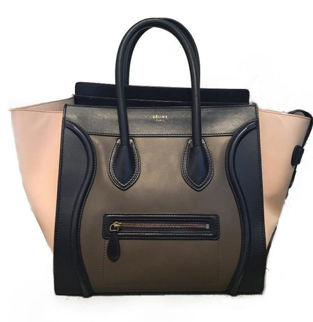 Celine Tricolor Calfskin Mini Luggage Tote Bag