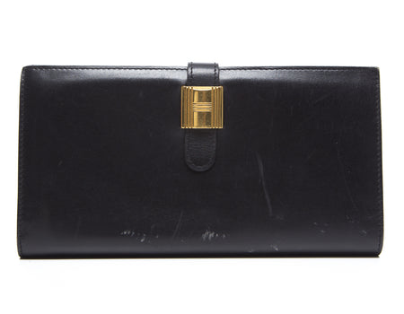 Hermes Black Box Calf Cadena Long Wallet