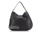 Gucci Black Guccissima New Ladies Large Web Hobo Bag