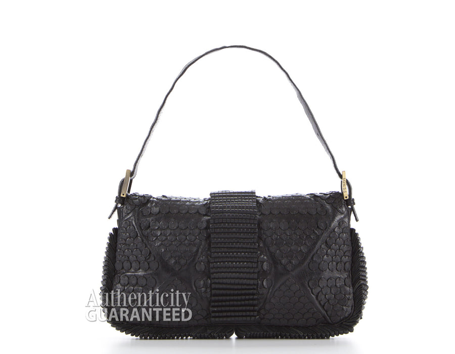 Fendi Black Leather Pailettes Baguette Bag
