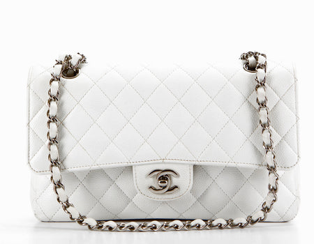 Chanel White Caviar Medium Double Flap Bag