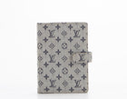 Louis Vuitton Navy Blue Mini Lin PM Agenda Cover