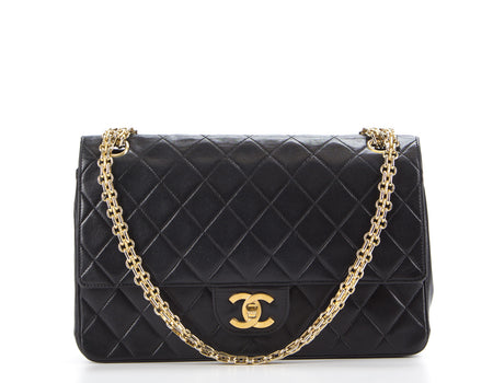 Chanel Black Bijoux Chain Medium Double Flap Bag