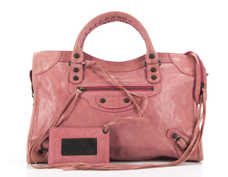 Balenciaga Rose Chevre Leather City Bag