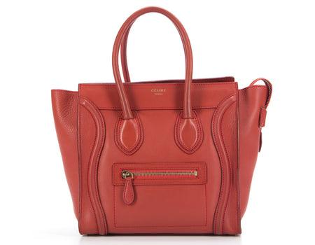 Celine Red Calfskin Micro Luggage Tote Bag