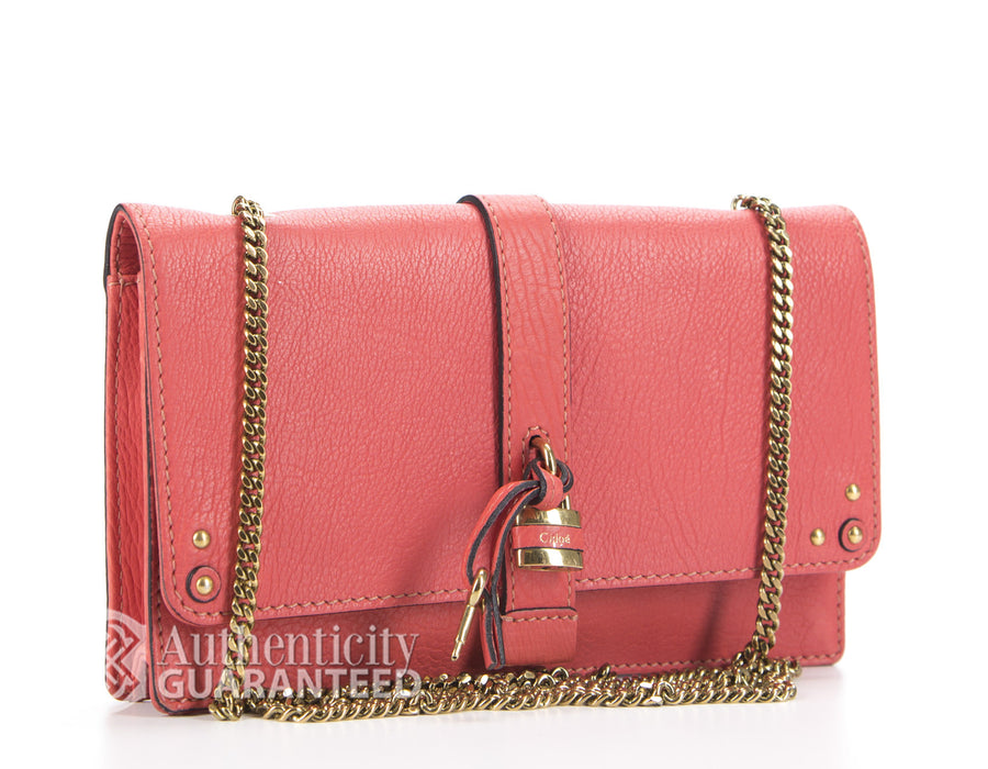 Chloe Pink Leather Aurore Wallet On Chain