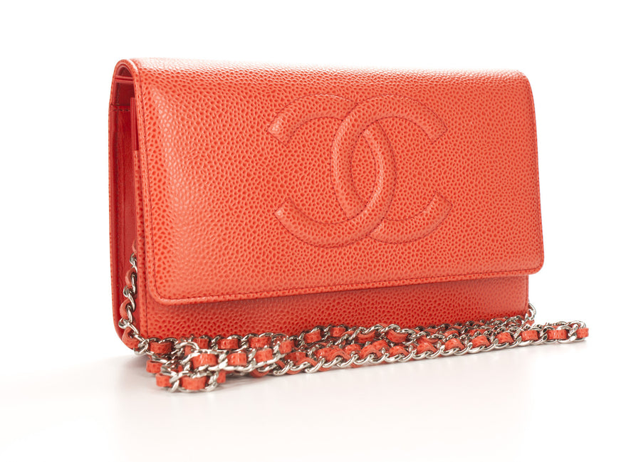 Chanel Coral Caviar Timeless CC WOC Wallet On Chain