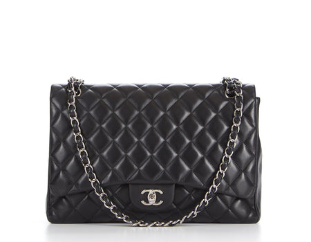 Chanel Black Lambskin Maxi Single Flap Bag
