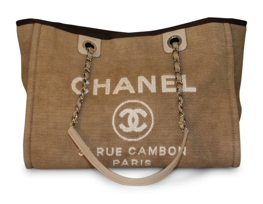 Chanel Beige Canvas Deauville MM Bag