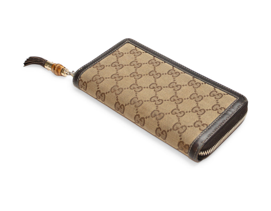Gucci Beige Monogram Canvas Bamboo Tassel Zip Around Wallet