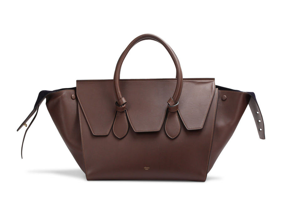 Celine Brown Smooth Calfskin Tie Tote Bag