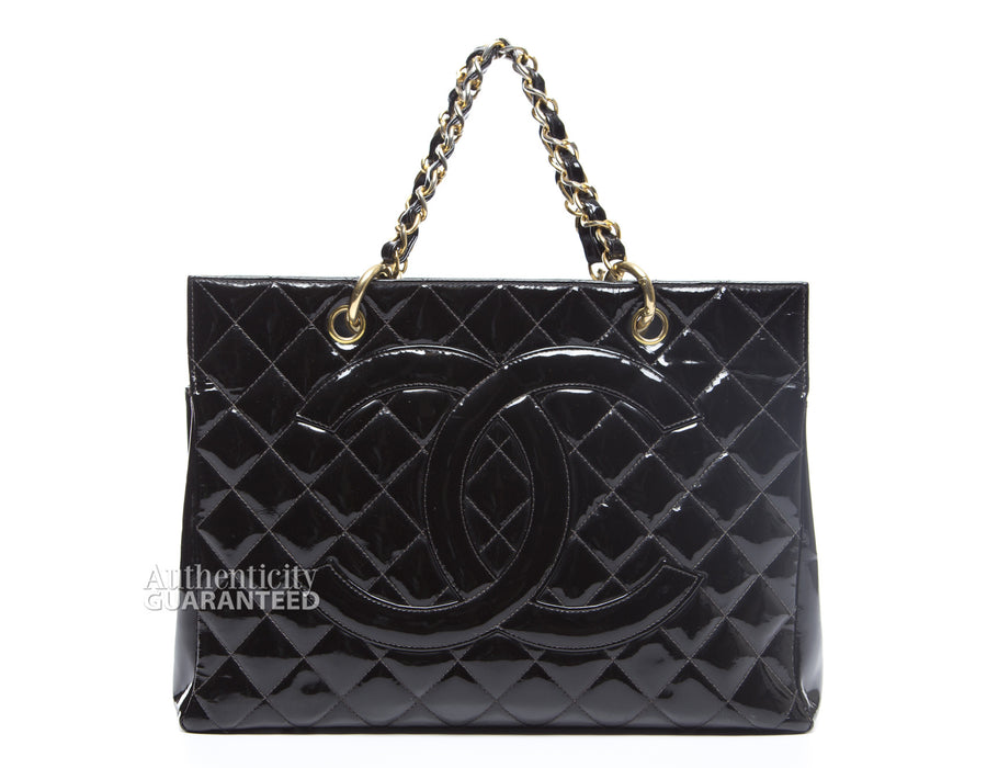 Chanel Patent Leather Vintage Timeless Shopping Tote