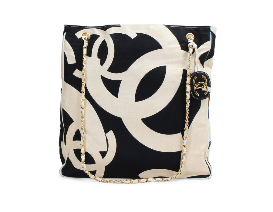 Chanel Black and White Canvas CC Logo Large Tote Bag
