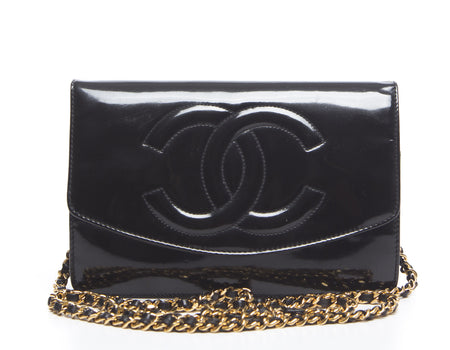 Chanel Black Patent Leather CC Envelope WOC Wallet On Chain