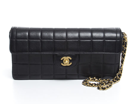 Chanel Black Lambskin Chocolate Bar Covertible Clutch Flap Bag