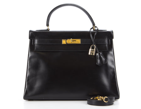 Hermes Black Box Calf Retourne Kelly 32cm Bag