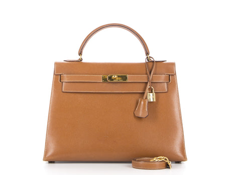 Hermes Cognac/Gold Courchevel 32cm Sellier Kelly Bag