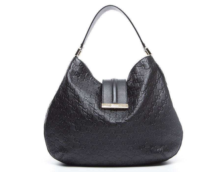 Gucci Black Guccissima New Ladies Hobo Bag