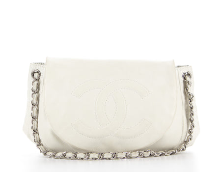 Chanel White Caviar Large Half Moon Bag