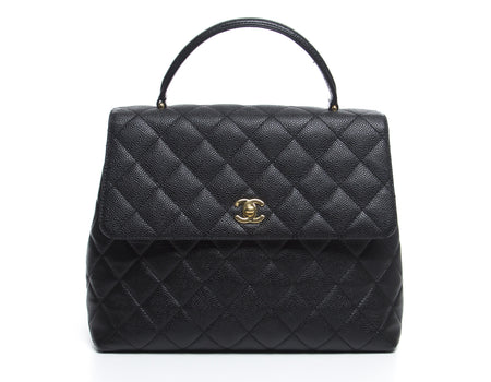 Chanel Black Caviar Classic Jumbo Kelly Bag GHW