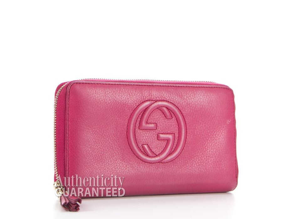 Gucci Hot Pink Soho Zip Around Wallet