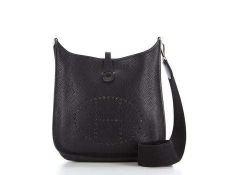 Hermes Black Courcheval Evelyne II PM Bag