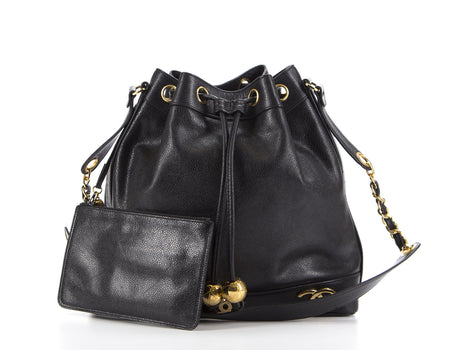 Chanel Black Caviar CC Bucket Bag