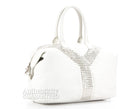 Saint Laurent White Calfskin Studded Easy Y Large Satchel Bag