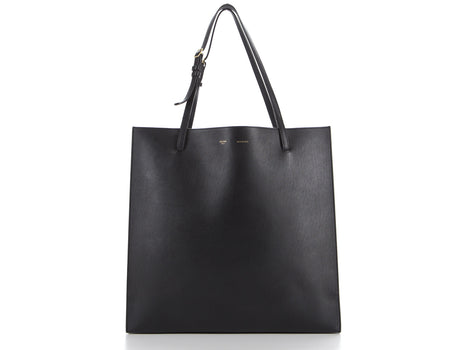 Celine Black Calfskin Triple Shopper Tote Bag