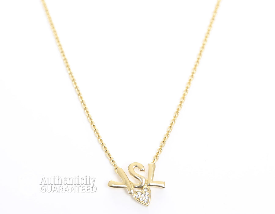 Yves Saint Laurent Gold Logo Heart Necklace