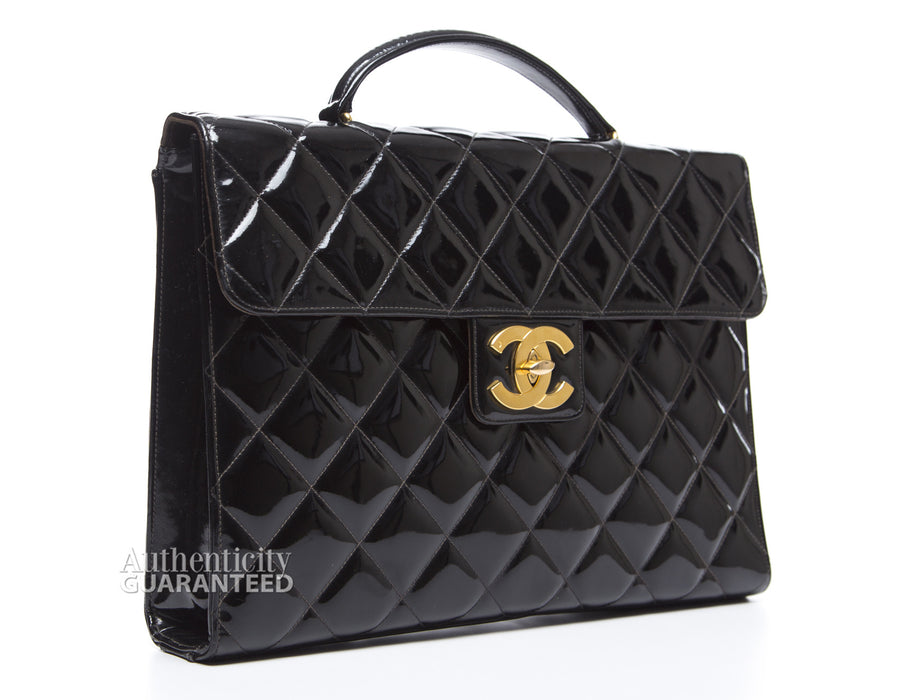 Chanel Black Patent Leather Quilted Vintage Briefcase Bag
