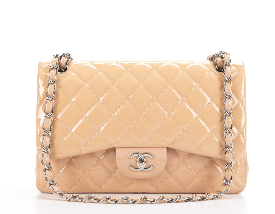 Chanel Peach Patent Leather Jumbo Double Flap Bag