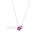 Chanel Pink CC Clover Silver Necklace