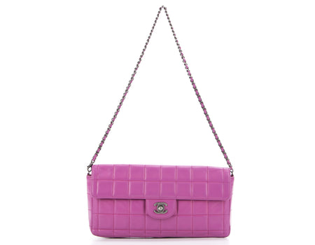 Chanel Pink Lambskin Chocolate Bar Flap Bag