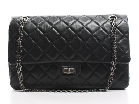 Chanel Black Aged Calfskin 2.55 Reissue 226 Flap Bag